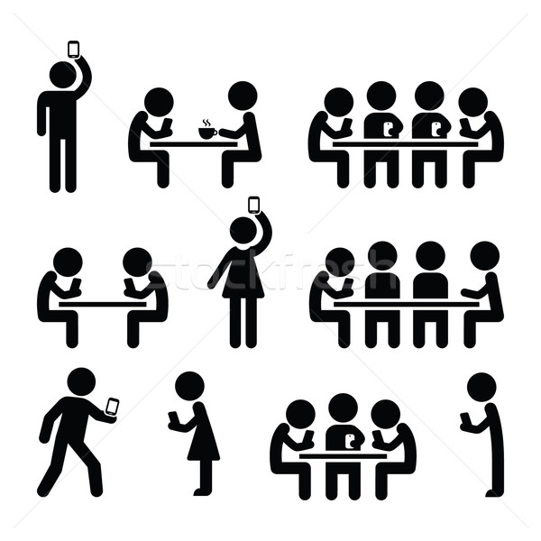 People on smartphones, walking and playing games, taking selfies icons  Stock photo © RedKoala