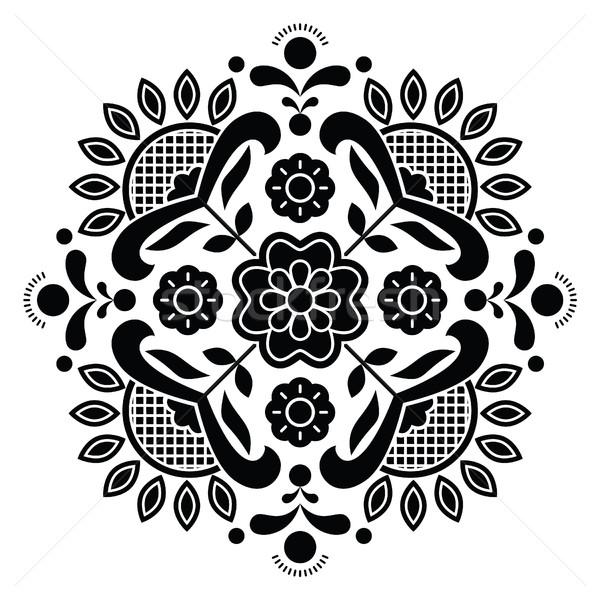 Norwegian black folk art Bunad pattern - Rosemaling style embroidery  Stock photo © RedKoala