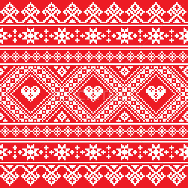 Traditional Ukrainian or Belarusian folk art white embroidery pattern on red Stock photo © RedKoala