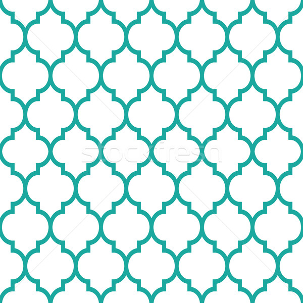 Moroccan tiles design, seamless turqoise pattern, geometric background Stock photo © RedKoala