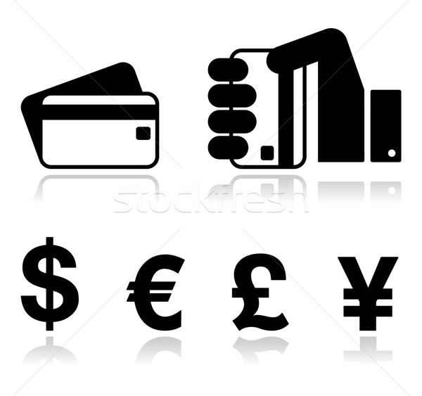 Payment methods icons set - credit card, by cash - currency. Stock photo © RedKoala