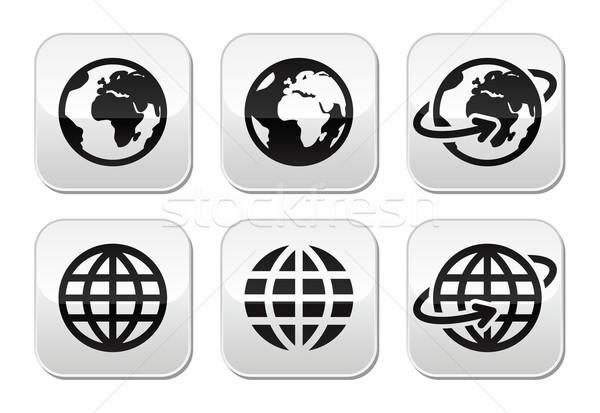 Wereldbol aarde vector knoppen ingesteld wereldkaart Stockfoto © RedKoala