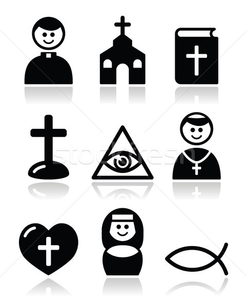 Religion, catholic church vector icons set Stock photo © RedKoala