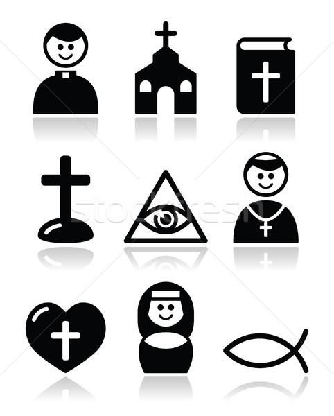 Religion, catholic church vector icons set Stock photo © RedKoala