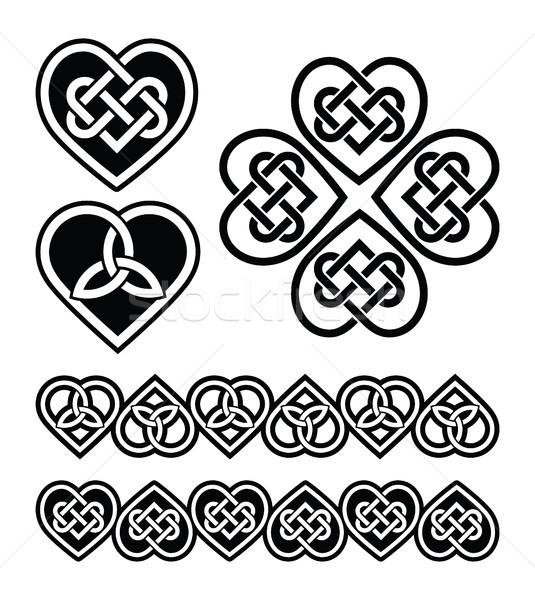 Celtic heart knot - vector symbols set Stock photo © RedKoala