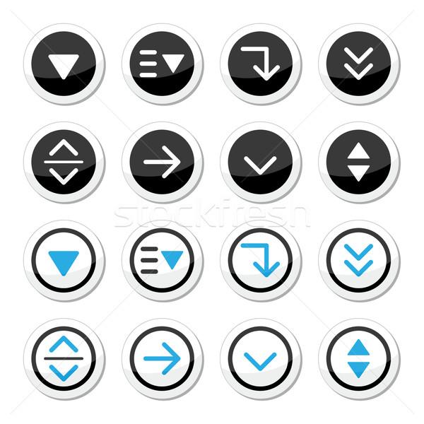 Menu drop down round icons set Stock photo © RedKoala
