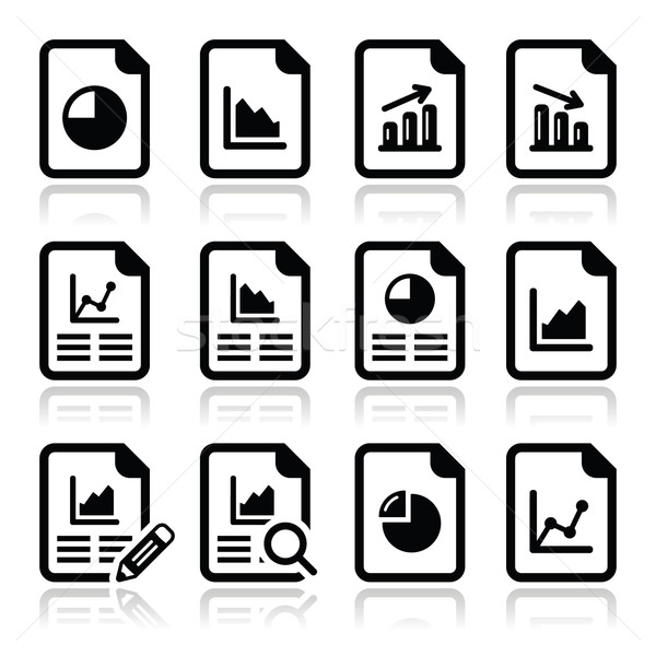 Document with pie chart, graph icons set Stock photo © RedKoala