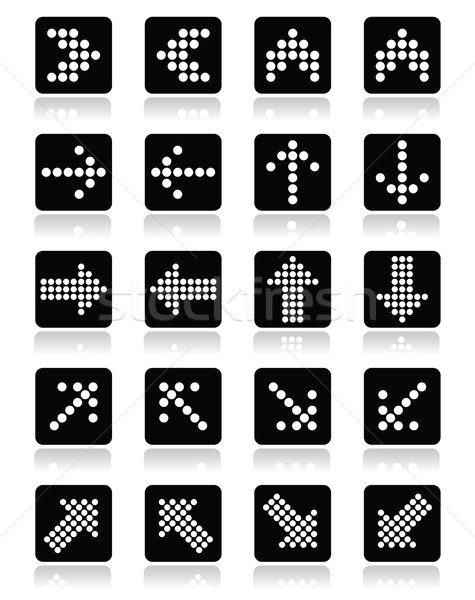 Dotted arrows on black square icons set isolated on white Stock photo © RedKoala