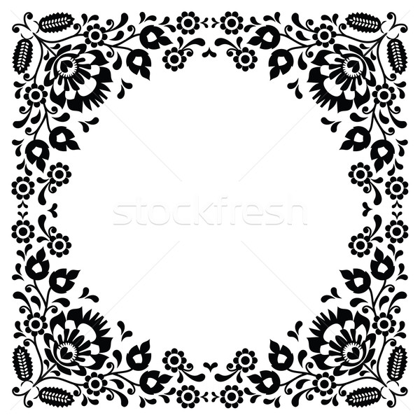 Polish floral folk black embroidery frame pattern - wzory lowickie Stock photo © RedKoala