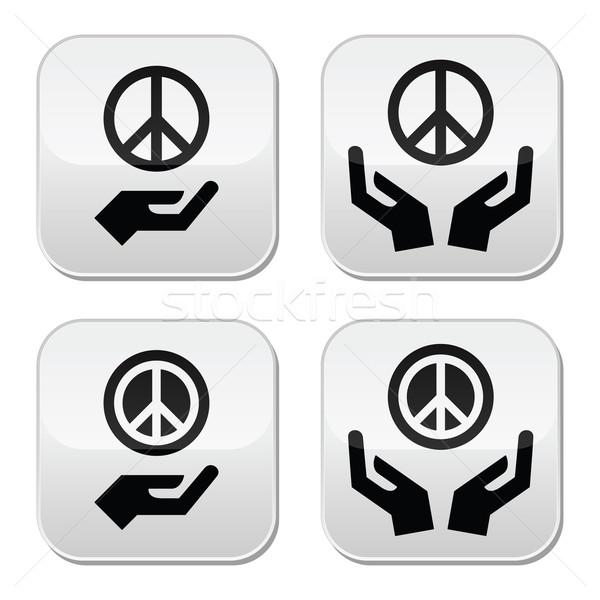 Stock fotó: Béke · felirat · kezek · ikon · szett · vektor · izolált
