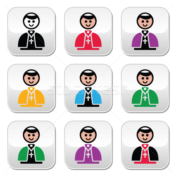Catholic church pope vector buttons set Stock photo © RedKoala