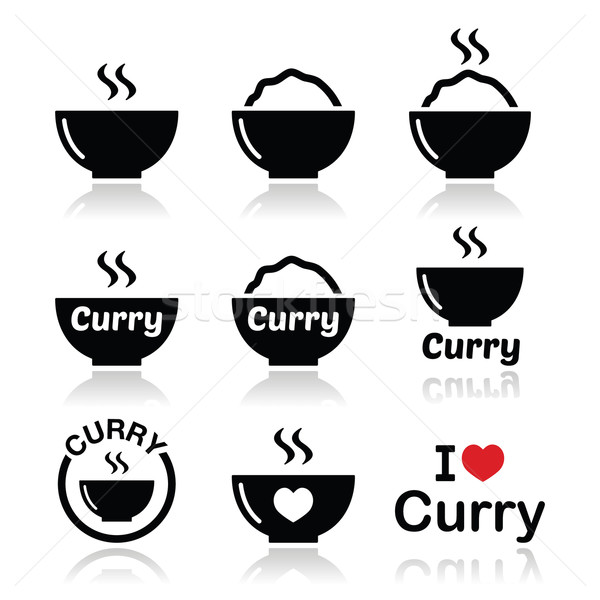 Curry, Indian spicy food icons set  Stock photo © RedKoala