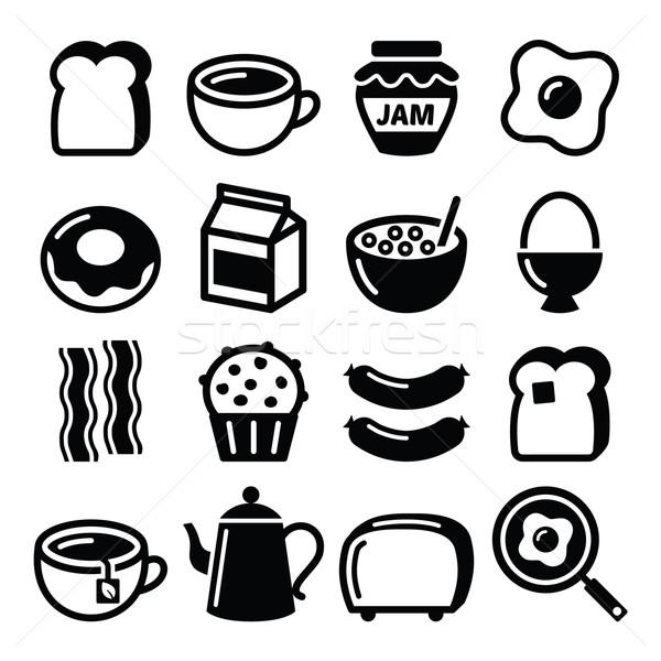 Breakfast food vector icons set - toast, eggs, bacon, coffee    Stock photo © RedKoala