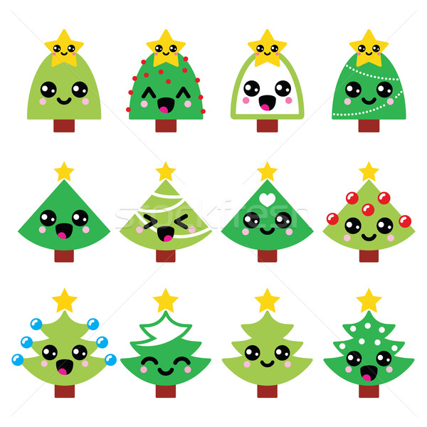 Cute kawaii christmas groene boom star vector Stockfoto © RedKoala