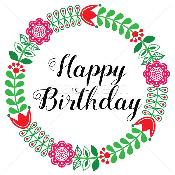Happy Birthday greetings card - Scandinavian folk art style  Stock photo © RedKoala