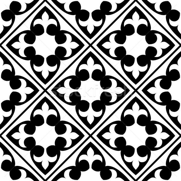 Spanish and Portuguese tile pattern, Moroccan tiles design, seamless black and white - Azulejo Stock photo © RedKoala