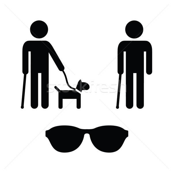 Blinde man begeleiden hond lopen Stockfoto © RedKoala