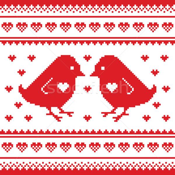 Foto stock: Dia · dos · namorados · amor · cartão · aves · corações