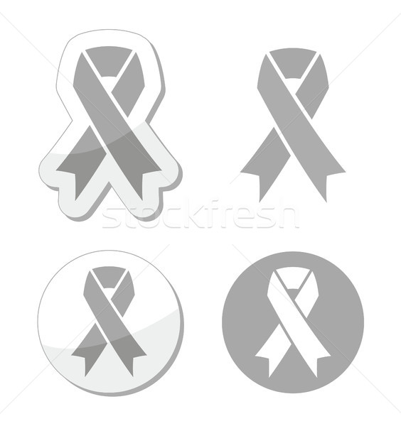Stock photo: Silver ribbon - children with disabilities, Parkinson's disease awereness sign