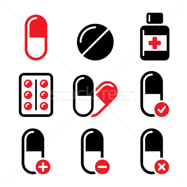 Pills, medication red and black vector icons set   Stock photo © RedKoala