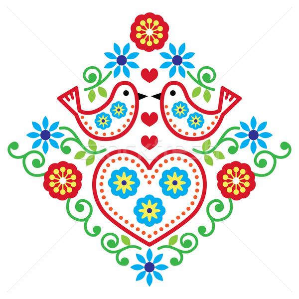 Folk art floral vector pattern with birds Stock photo © RedKoala