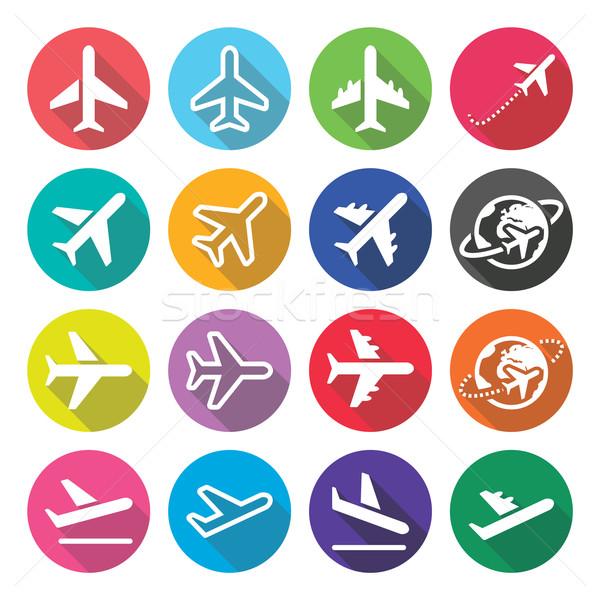 плоскости полет аэропорту дизайна иконки вектора Сток-фото © RedKoala