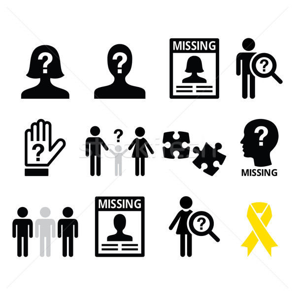 Missing people, missing child icons set Stock photo © RedKoala