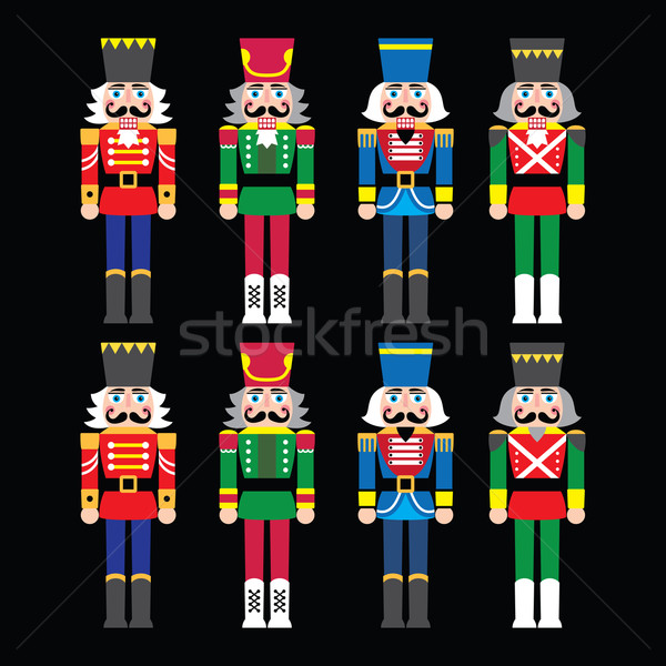 Christmas nutcracker - soldier figurine icons set on black Stock photo © RedKoala