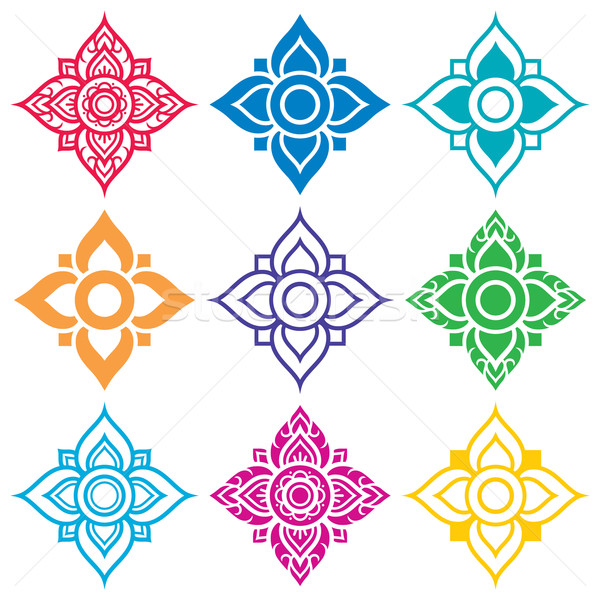 Thai folk art pattern - flower shape   Stock photo © RedKoala