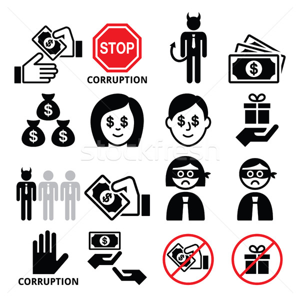 Corruption, no bribes and presents, corrupted businessman icons set  Stock photo © RedKoala