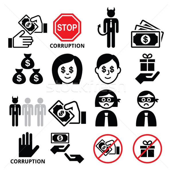 Korrupció nem ajándékok üzletember ikon szett stop Stock fotó © RedKoala