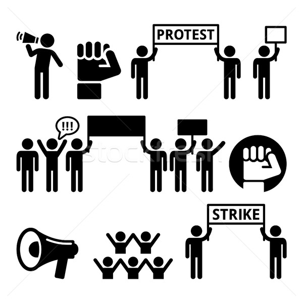Protest, strike, people demonstrating or fighting for their rights icons set  Stock photo © RedKoala