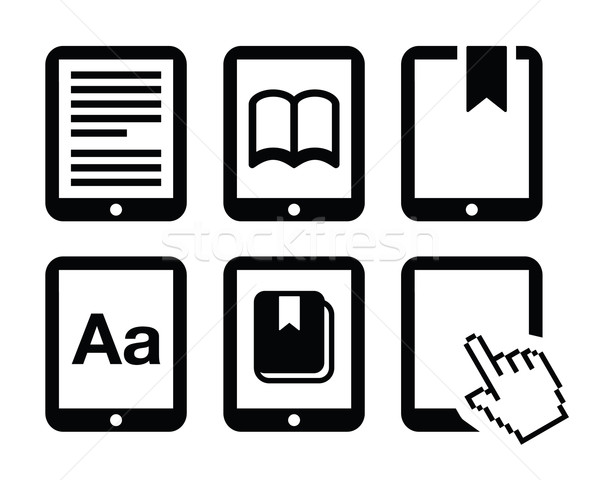 E-book reader, e-reader vector icons set  Stock photo © RedKoala