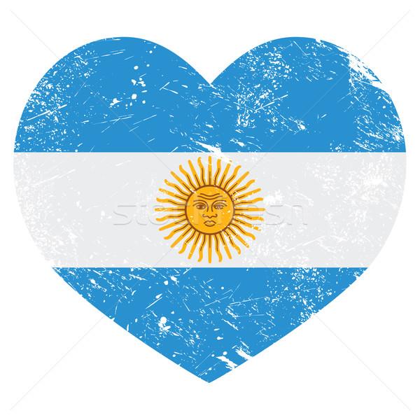 Argentina retro heart shaped flag Stock photo © RedKoala