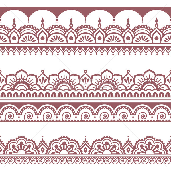 Indian seamless brown pattern, design elements - Mehndi tattoo style Stock photo © RedKoala