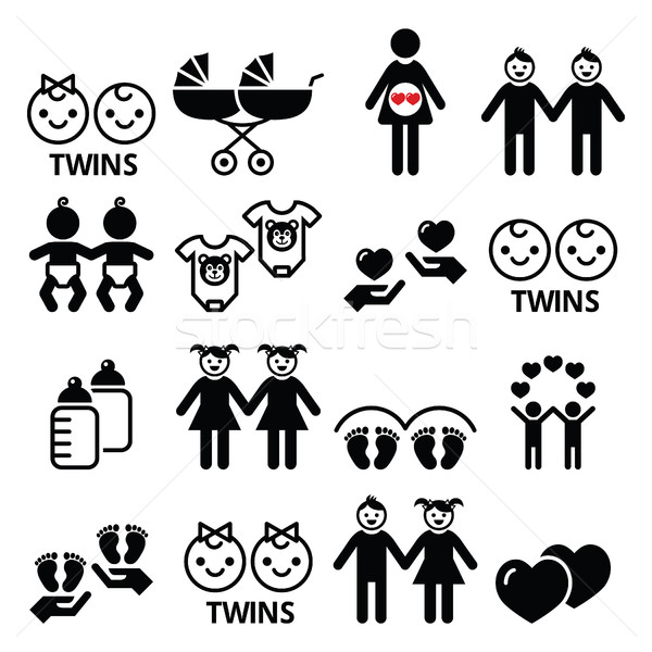 Twin babies icons set - double pram, twin boy and girl designs Stock photo © RedKoala