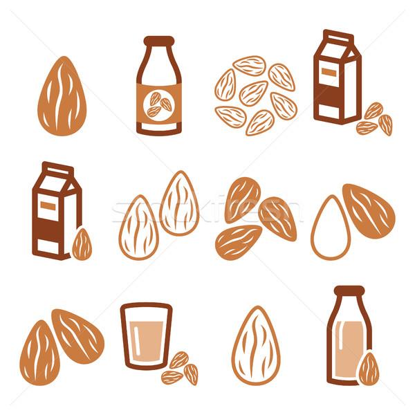 Mandulák mandula tej vektor ikon szett étel Stock fotó © RedKoala