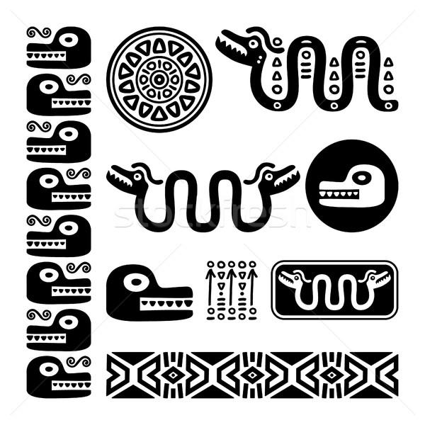 Aztec animals, Mayan snake, ancient Mexican design set  Stock photo © RedKoala