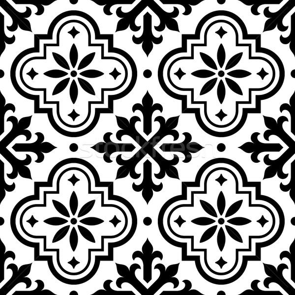 Spanish tile pattern, Moroccan tiles design, seamless black and white background - Azulejo Stock photo © RedKoala