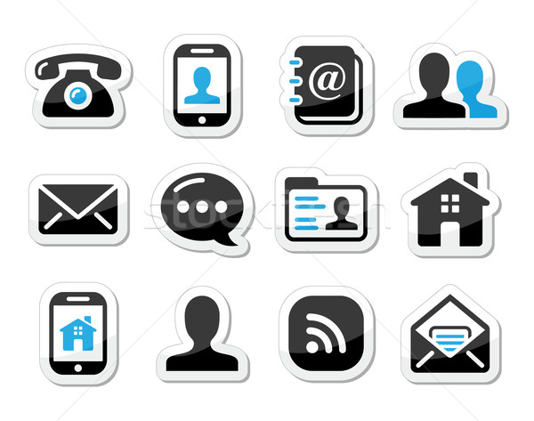 Contact icons set as labels - mobile, user, email, smartphone Stock photo © RedKoala