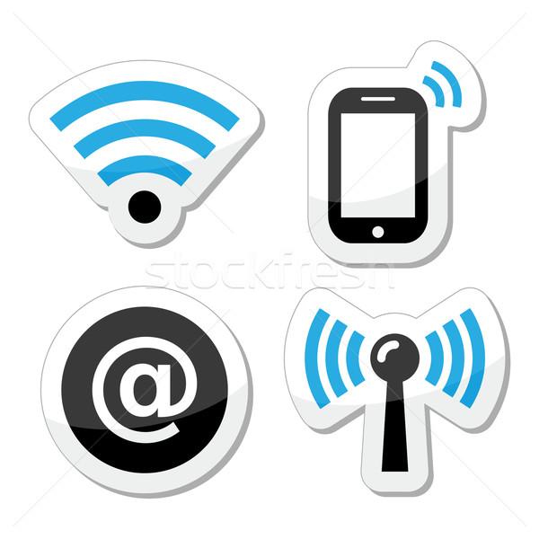 Stockfoto: Wifi · netwerk · internet · zwarte · Blauw