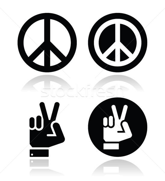 Peace, hand gesture vector icons set Stock photo © RedKoala
