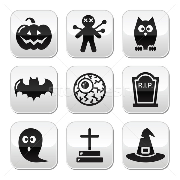 Halloween buttons set - pumpkin, witch, ghost, grave Stock photo © RedKoala