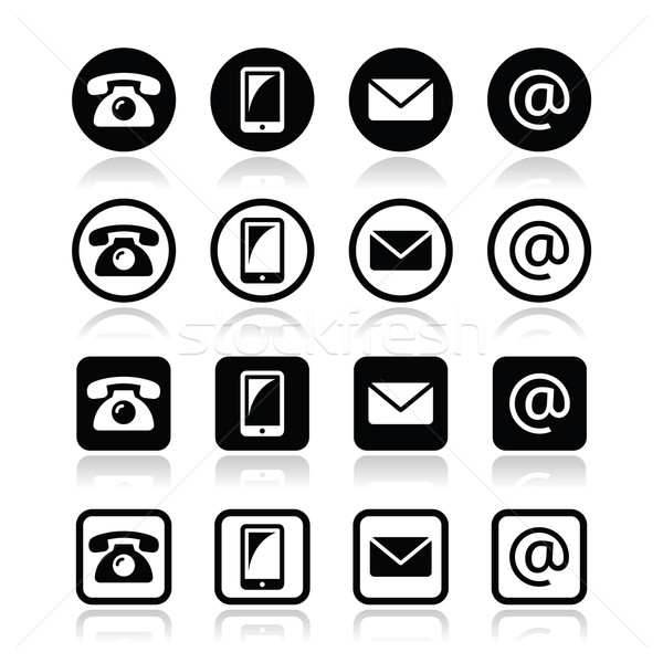 Contact icons in circle and square set - mobile, phone, email, envelope Stock photo © RedKoala
