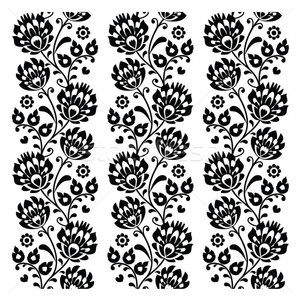 Seamless traditional folk polish pattern in black - seamless embroidery stripes Stock photo © RedKoala
