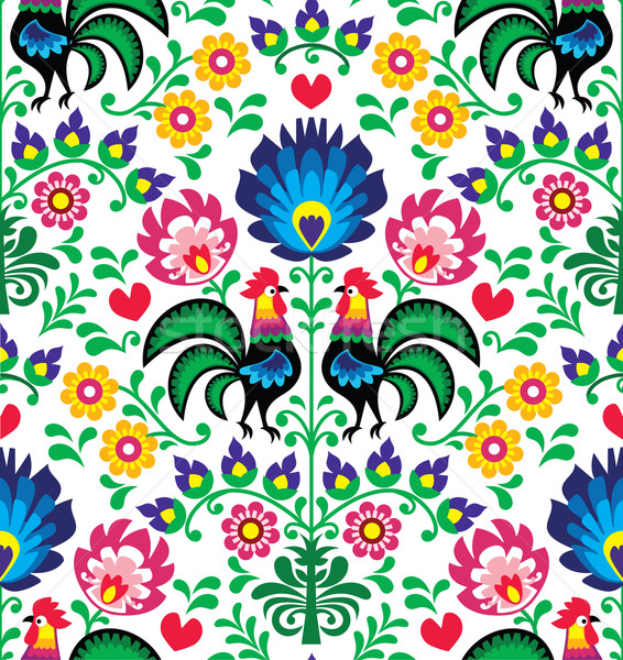 Seamless traditional floral Polish pattern with roosters - Wzory Łowickie Stock photo © RedKoala