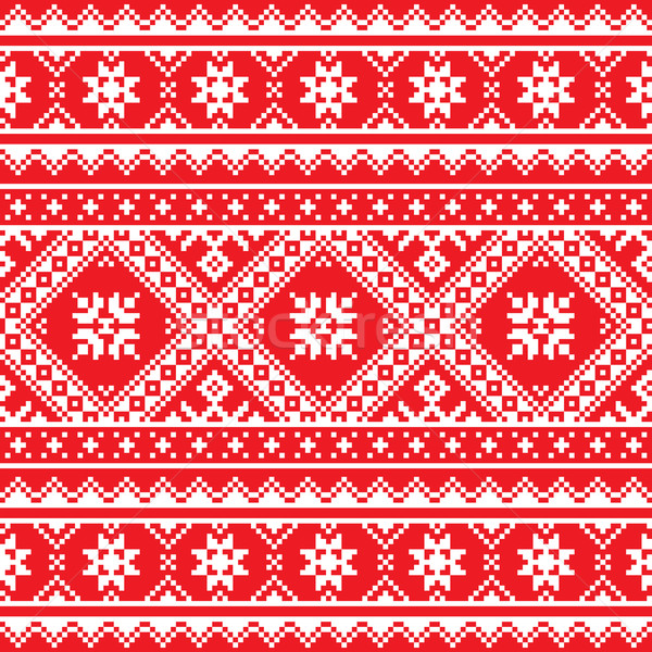 Ukrainian, Slavic folk art knitted red and white embroidery pattern  Stock photo © RedKoala
