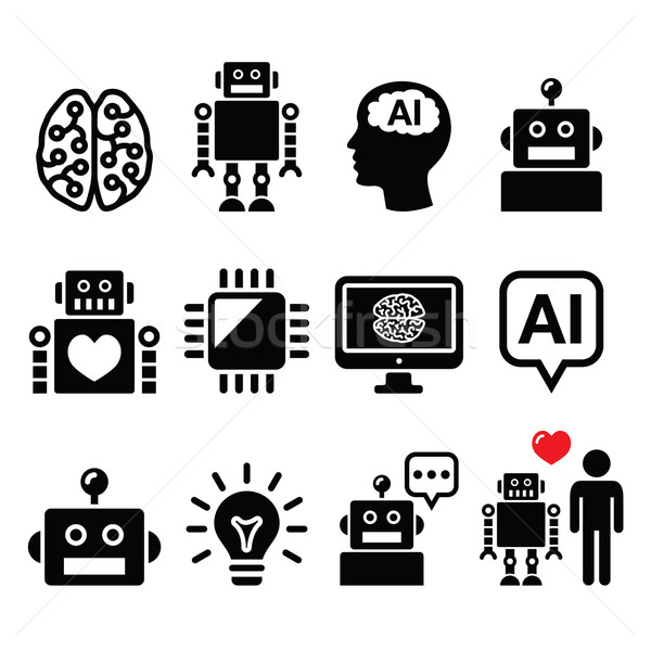 Artificial Intelligence (AI), robot icons set Stock photo © RedKoala