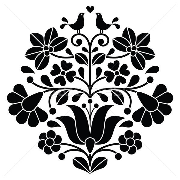 Kalocsai black embroidery - Hungarian floral folk pattern with birds Stock photo © RedKoala
