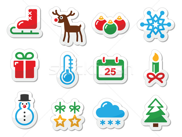 Christmas winter black icons set as labels Stock photo © RedKoala